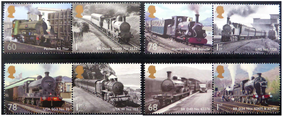 SG3570 / 77 2014 Classic Locomotives of the United Kingdom booklet stamps unmounted mint set of 8