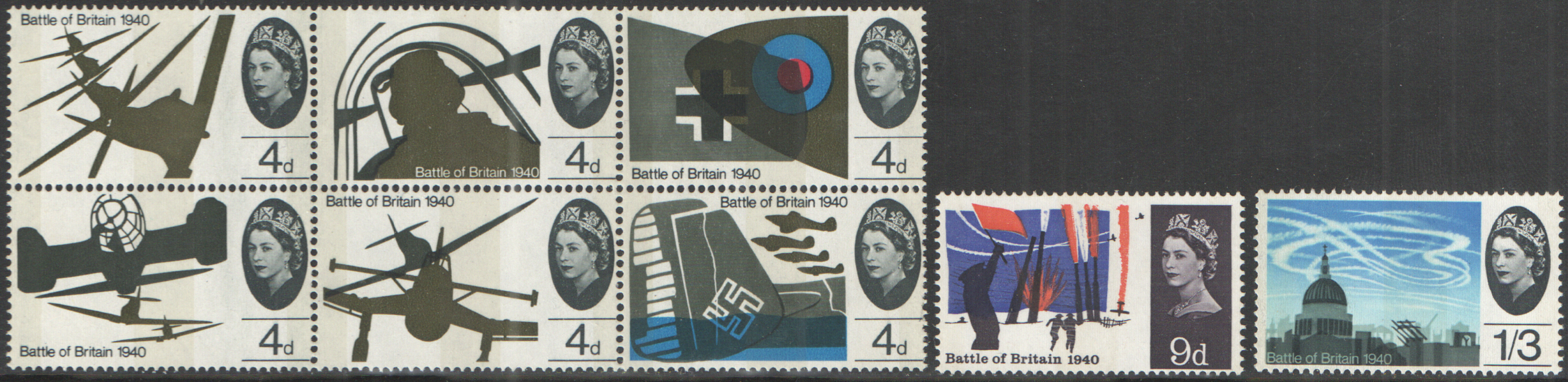 SG671p / 678p 1965 Battle of Britain (Phosphor) unmounted mint set of 8