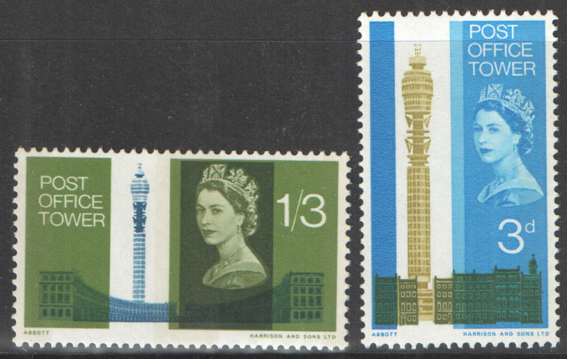 SG679p / 680p 1965 Post Office Tower (Phosphor) unmounted mint set of 2