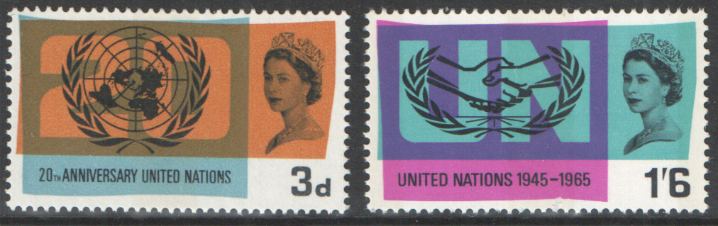 SG681p / 682p 1965 United Nations (Phosphor) unmounted mint set of 2